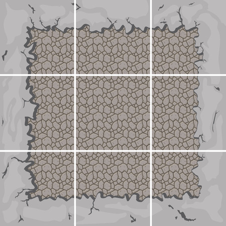 shingle: seamless stone tiles construction kit with ground border connection Illustration