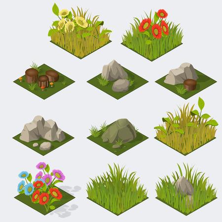 Set of Isometric Tiles grass flowers stones stomps