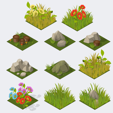 Set of Isometric Tiles grass flowers stones stomps
