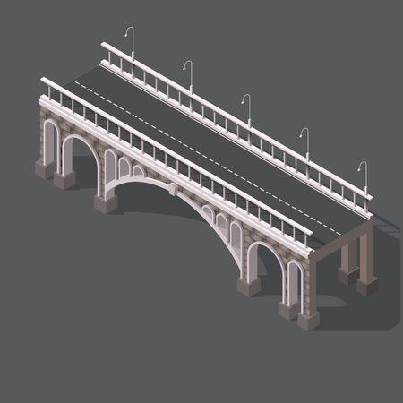 Isometrische tekening van een stenen brug tegen een witte achtergrond
