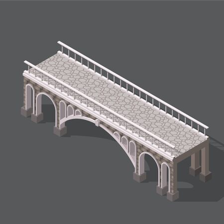 balustrade: Isometric drawing of a stone bridge against white background with shadows