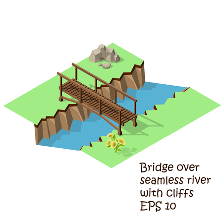 Vector isometric illustration of  wooden bridge. Steel bridge for Train.