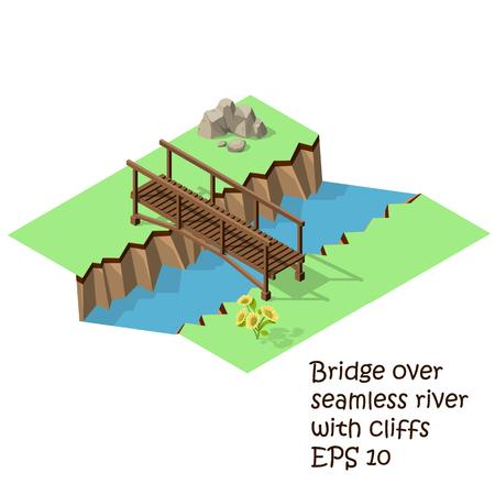 magnetic stones: Vector isometric illustration of  wooden bridge. Steel bridge for Train.