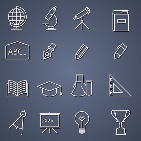 retort: Outline thin line icon collection - School education
