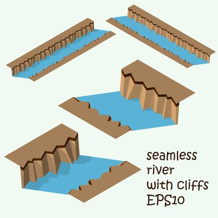 flor: Piece of  land with seamless cliff and river.  Part of the map. Isometric.