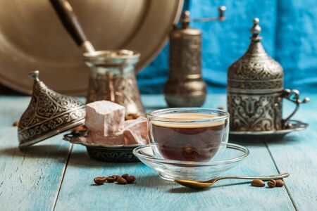 delight: Turkish coffee and turkish delight with traditional embossed metal tray and cup