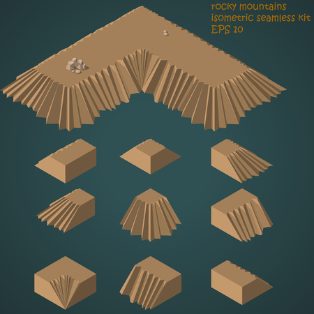 rocky mountains: cartoon style rocky mountains isometric seamless kit with sample Illustration