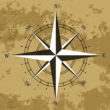 compass rose: Vector oldstyle wind rose compass on old paper background