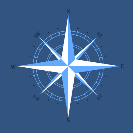 compass rose: oldstyle wind rose compass on blue background