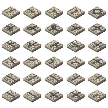 urban city: Isometric Roads elements on gravel Terrain. Construction kit Illustration