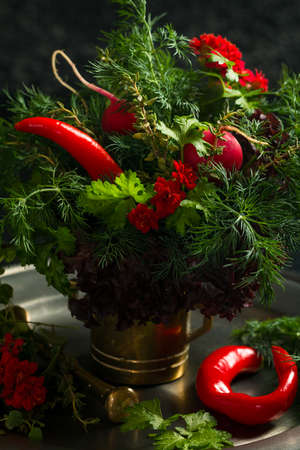dill and parsley: Variety fresh organic herbs in bunch lettuce, dill, parsley, thyme, red lettuce on dark background.