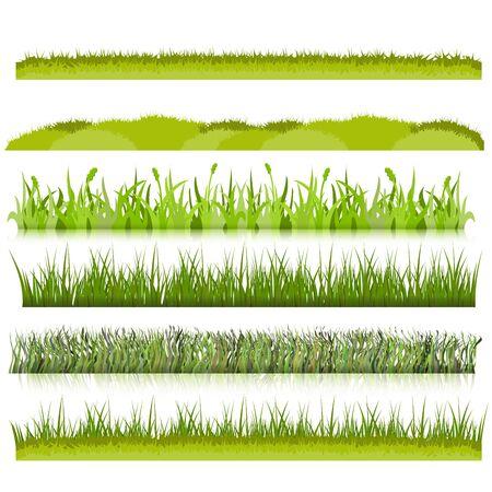 hillock: ravdon Green grass borders set vector illustration Illustration