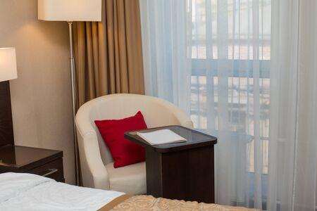 luxury hotel room: luxury modern hotel room with furnishing