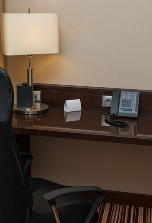 luxury hotel room: Working place in luxury modern style room in hotel Stock Photo