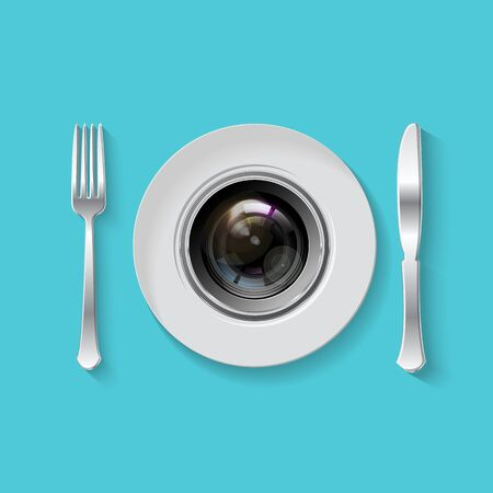 plate camera: Camera lens with fork and knife, table setting. Food Photography concept. foodphoto, food photo icon, realistic