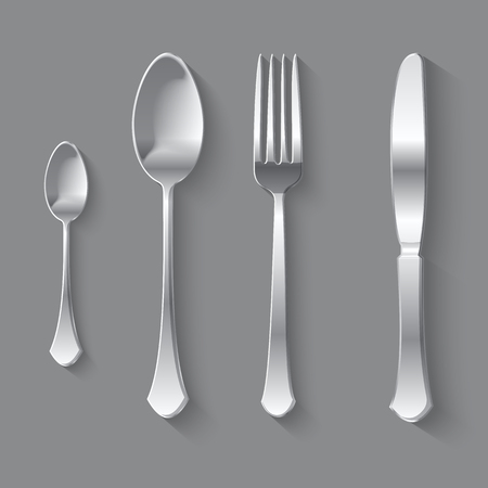 dinnerware: Vector Cutlery Set of Silver Fork Spoon and Knife Top View Isolated on Background. Table Setting