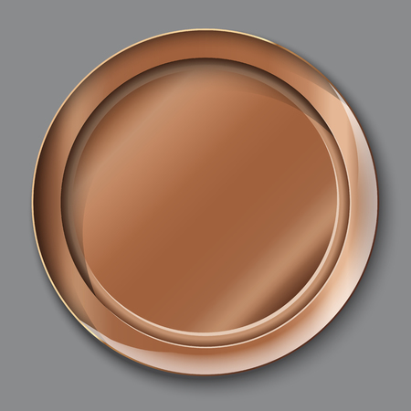 Vector illustration of empty copper plate. top view. on grey background. Illustration