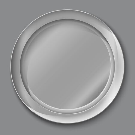 Vector illustration of empty silver plate. top view. on grey background.
