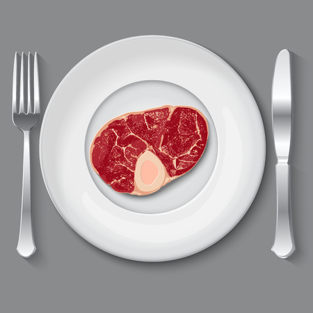 pork chop: Fresh vector meat. raw meat on white plate. top view meat. meat on plate with fork and knife Illustration