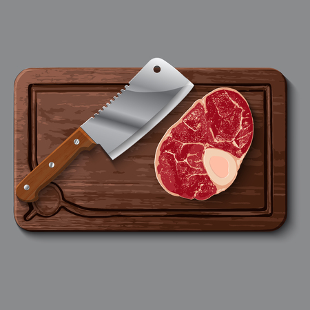butcher knife: Realistic steak wooden cutting board, isolated on grey with raw meat and butcher knife Illustration