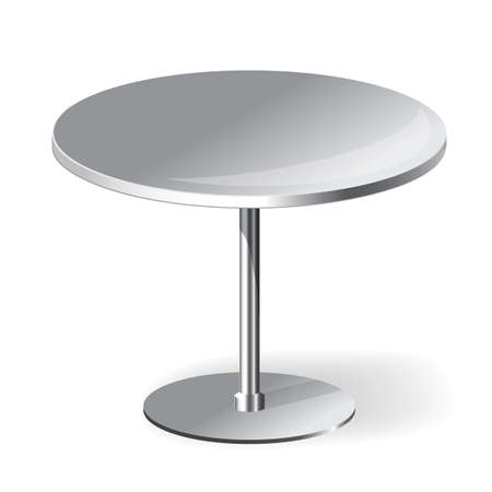 round table: Empty Round Table with chrome legs Isolated on White Background Illustration