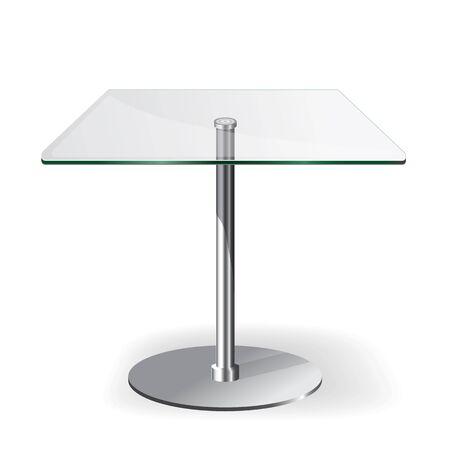 Moderne table en verre rectangle isolé sur blanc