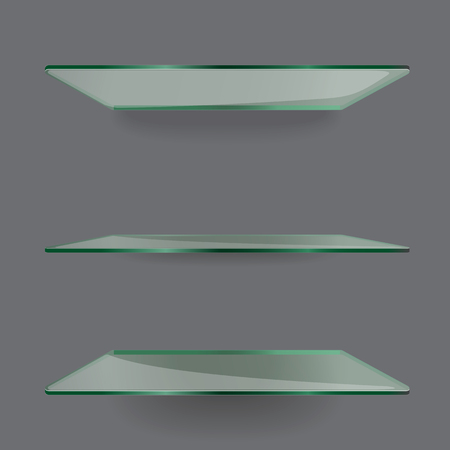exposition: Realistic transparent glass shelves on light grey background.