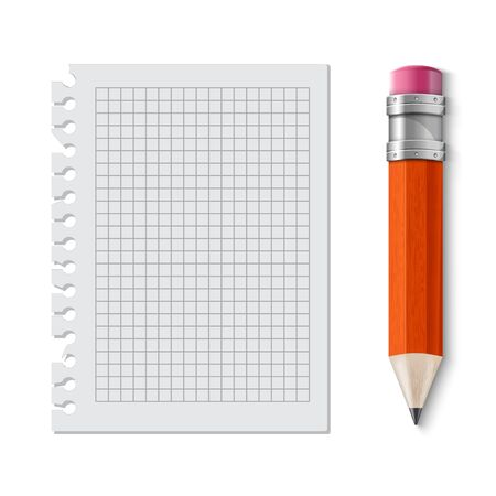 sharpened: Realistic yellow pencil icon. Vector illustration. pencil wih eraser. note sheet Illustration