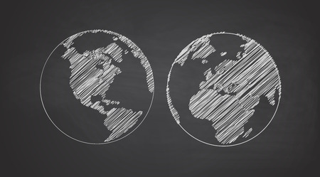 chalk line: Icon set of Earth globe. Simple chalk line. White icon on a black background.
