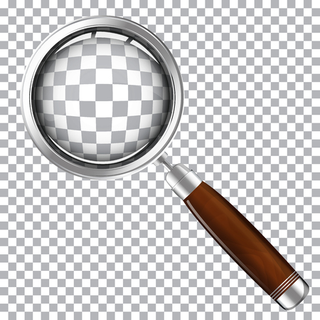 Illustration of a magnifying glass with a wooden handle on a transparent background