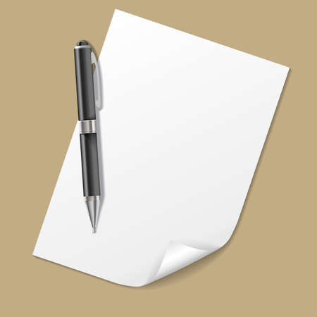 pen and paper: Vector White Paper with Pen isolated on background, realistic pen Illustration