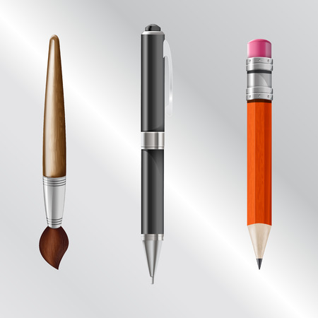 writing implements: Vector illustration set of writing implements including pencil, pen, brush. realistic icons Illustration