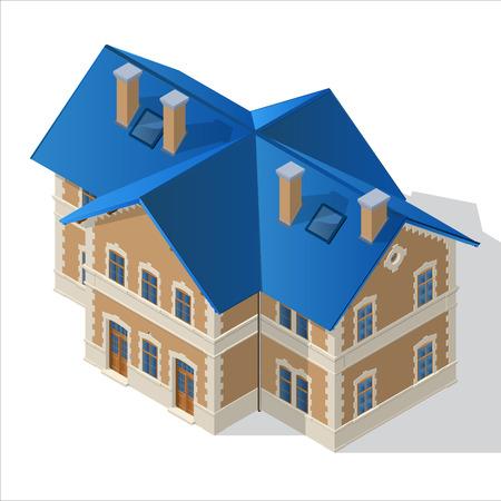 villa: villa, Small House, estate icon Isometric Vector EPS10