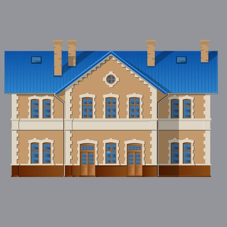 two floors: classic Residential private house, two floors. Vector realistic illustration. Isolated on grey background.