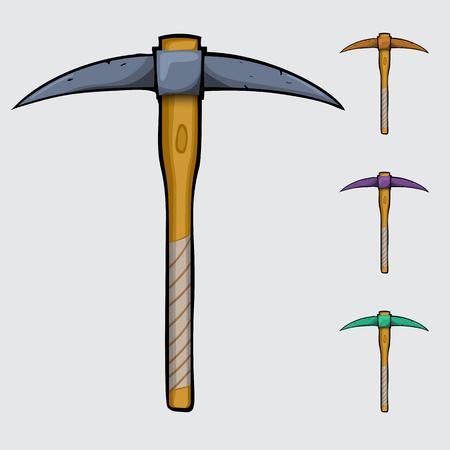 ore: cartoon pickaxe, comics pickaxe,pickaxe for ore extraction on a white background