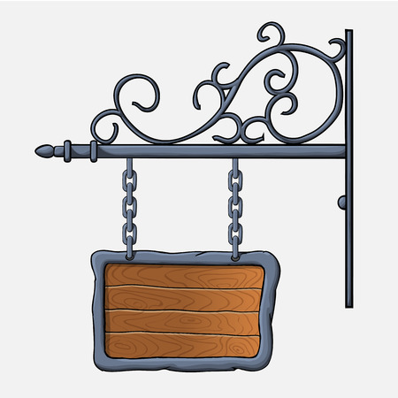 vector medieval wood sign hanging on chains isolated on white Illustration