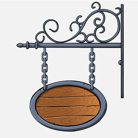 nameboard: vector medieval wood sign hanging on chains isolated on white Illustration