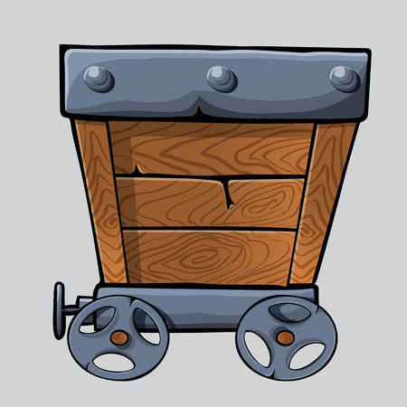 mine: empty wooden mine cart for your designs. cartoon mine cart Illustration
