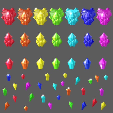 amethyst: Set of magic crystals. Crystals collection on isolated background vector illustration. Amethyst, topaz, citrine, rose quartz, kyanite, ruby, green gemstone. mine jewels