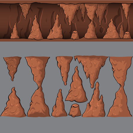 Seamless cartoon vector cave for game and animation, game design asset Illustration