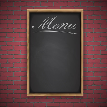 red brick: Menu chalkboard on red brick background, wooden frame