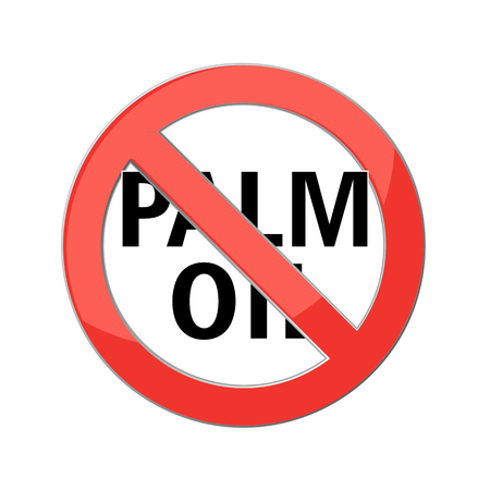 red palm oil: no palm oil sign Red prohibition sign. Stop symbol. Vector Illustration