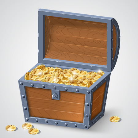 hoard: vintage wooden chest with golden coin vector illustration isolated on white background. Illustration