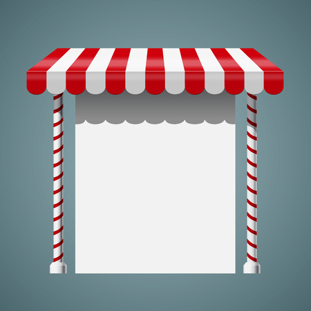 Sale stand with red awning and red white striped rack. Product presentation template. Vector illustration Ilustracja