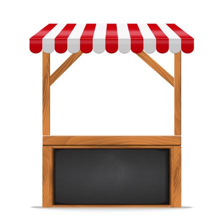 Parada de calle con el toldo rojo y estante de madera y el contador. Soporte para la venta. Negro pizarra ilustración vectorial marco. Foto de archivo - 63928580