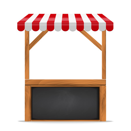 Street stall with red awning and wooden rack and counter. Stand for sale. Black chalkboard frame Vector   illustration.