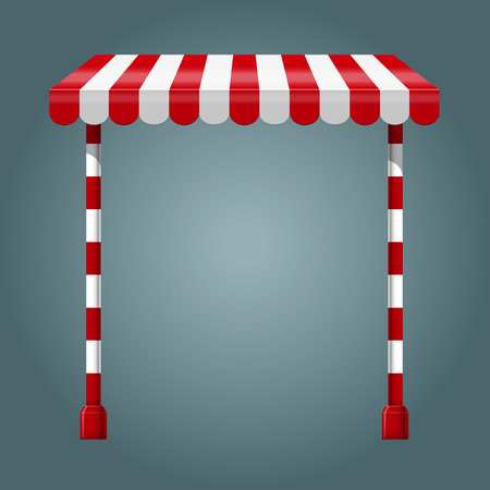 Sale stand with red awning and red white striped rack. Product presentation template. Vector illustration Illustration