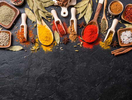 indian mustard: Variety of spices and mediterranean herbs. Food background. Top view with copy space