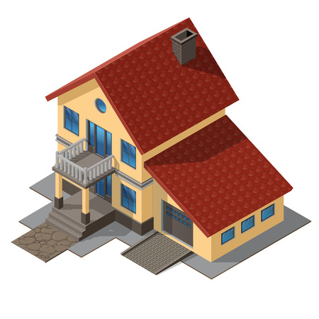 American Cottage, Small Wooden House For Real Estate Brochures Or Web Icon. With Yard, Green Grass, Road, Mailbox, Fence, Ground. Isometric Vector EPS10, isolated on white Illustration