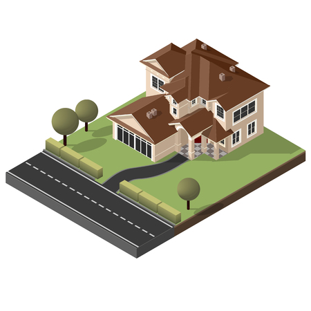 American Cottage, big House For Real Estate Brochures Or Web Icon. With Yard, Green Grass, Road, Mailbox, Fence, Ground. Isometric Vector EPS10